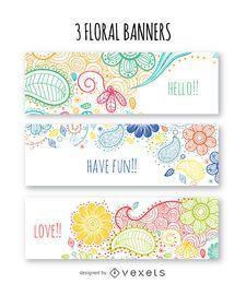 Colorful floral banner set