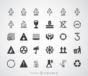 Recycling symbols and pictograms set
