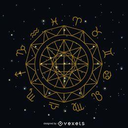 Zodiac sign circle symbol