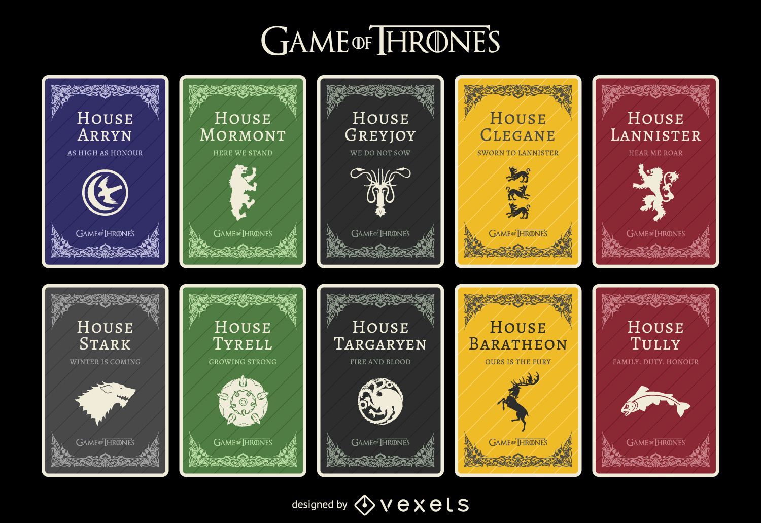 Game Of Thrones Houses Vector Download