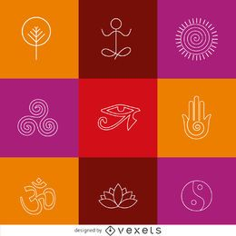 Thin line yoga zen icons