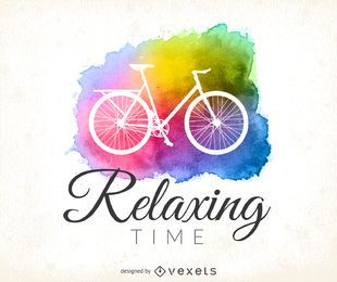 Watercolor cycling logo