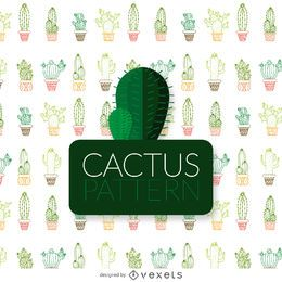Thin line color cactus pattern