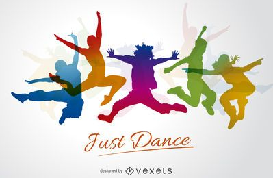 Colorful dance silhouettes