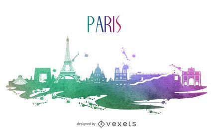 Paris watercolor skyline silhouette