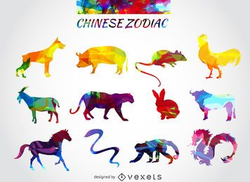 Chinese zodiac animals set