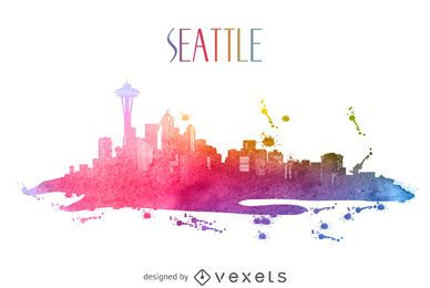 Seattle watercolor skyline silhouette