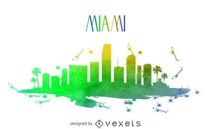 Miami watercolor skyline