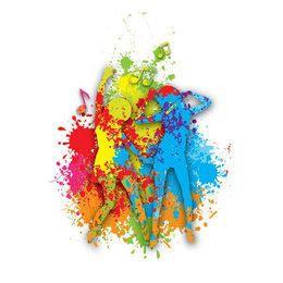 Girls Dancing Colorful Paint Splats