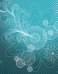 Decorative Linen Floral Blue Background