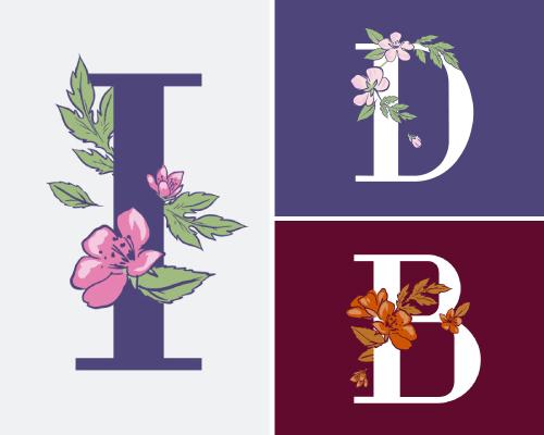 Floral alphabet logos