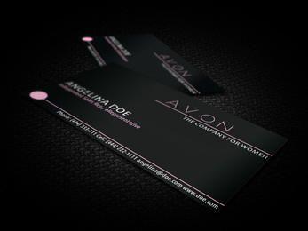 Tarjeta de visita negra de Avon