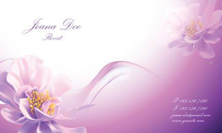 Cartao de visita rosado Floral