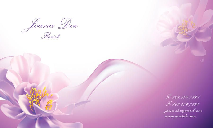 Pinkish Floral Business Card Template - Vector download