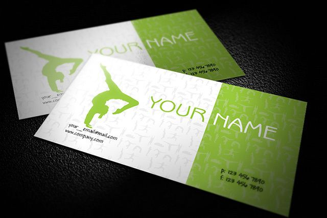 Green yoga business card template vector download by business cards svg reheart Choice Image
