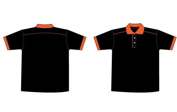 Free Black Orange Collar T Shirt Template Vector Download