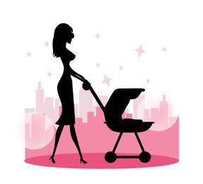 Mamá caminando con cochecito de bebé