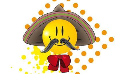 Smiley mexicano de bigode