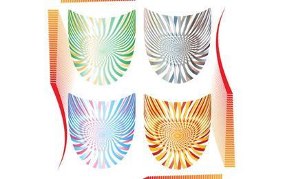 Conjunto de escudos de arte op
