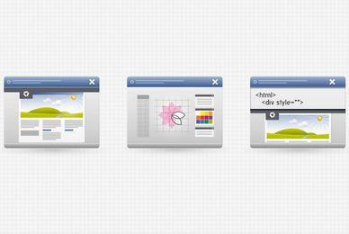 3 ícones da interface do programa de área de trabalho