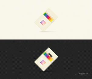 Icono de lápiz de color con paquete