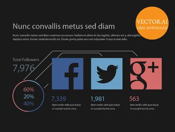 Infográfico estatístico de mídia social simplista