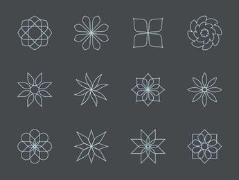 Conjunto de iconos floral abstracto de lino fino
