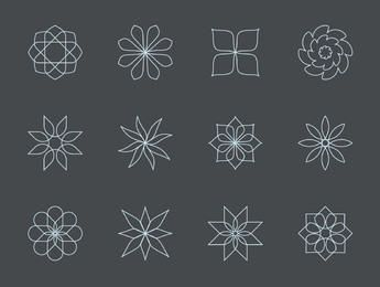 Thin Linen Abstract Floral Icon Set