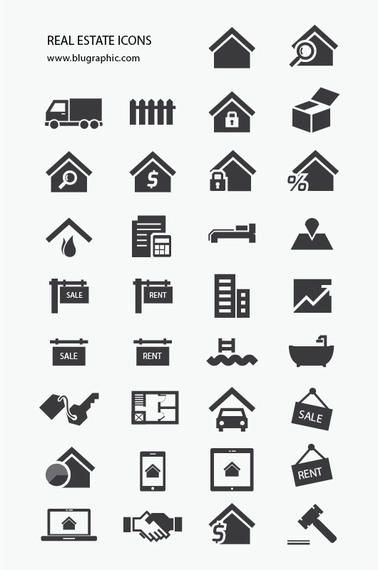 Real Estate Icon Pack Silhouette