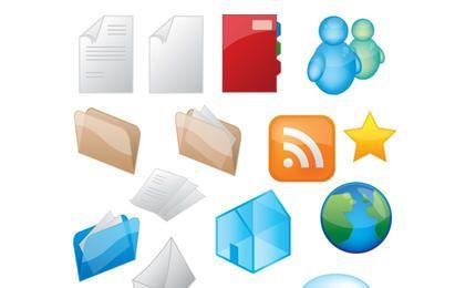 Brillantes iconos de iconos vectoriales de estilo