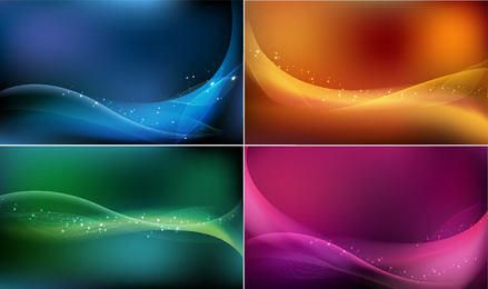 Soft Waves & Lines Abstract Colorful Background Set