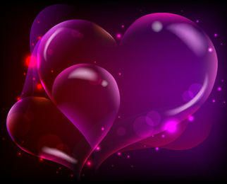 Fluorescent Darkish Heart Background with Sparkles