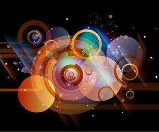 Fondo oscuro abstracto con círculos de colores