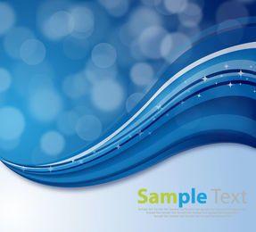 3D Blue Waves with Bokeh Bubbles & Sparkles