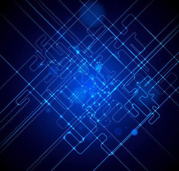Futuristic Fluorescent Blue Tech Lines Background
