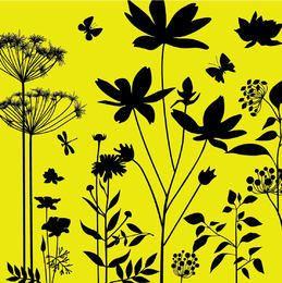 Silueta Jardín Las plantas con las libélulas