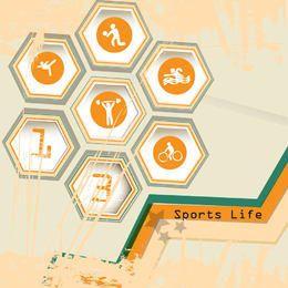 Hexágono icono de la vida deportiva con manchas grungy