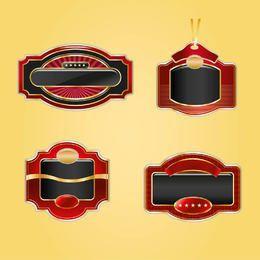 4 creativos escudos dorados y rojos