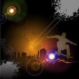 Glowing Urban Night Skateboard Background