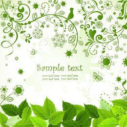 Fresh Green Nature Background with Flourish