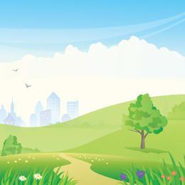 Arranha-céus de alta ascensão com gramado verde