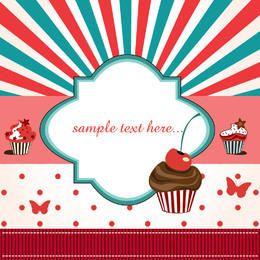 Tarjeta de cumpleaños funky con cupcake