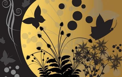 Fantasie-Garten nachts - Vector Desig