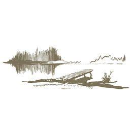 Esboço abstrato da paisagem do lago e da doca