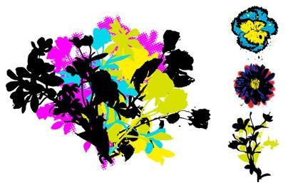 Retro Grunge Floral Vectors