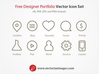 Conjunto de ícones delineados de Designer portfólio
