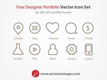 Designer Portfolio Outlined Icon Set