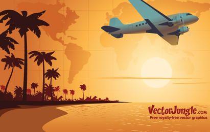 Avión de viaje al atardecer Vector