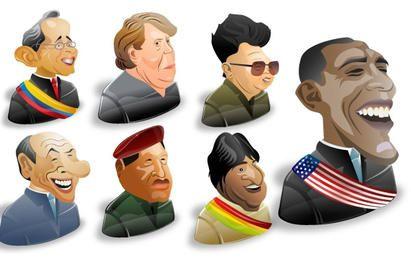 Freebie: conjunto de iconos de 8 personajes políticos