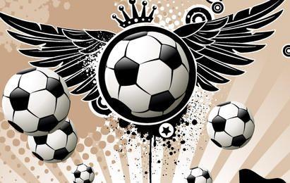 Fútbol con alas y estrellas.